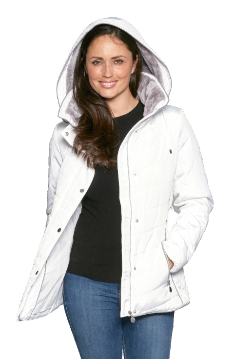 Womens White Luxury Padded Hooded Jacket db730